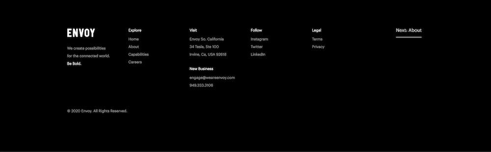 screenshot of a website footer