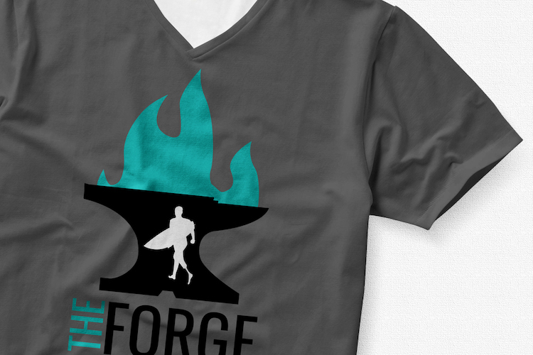 T-shirt mockup with the Forge logo