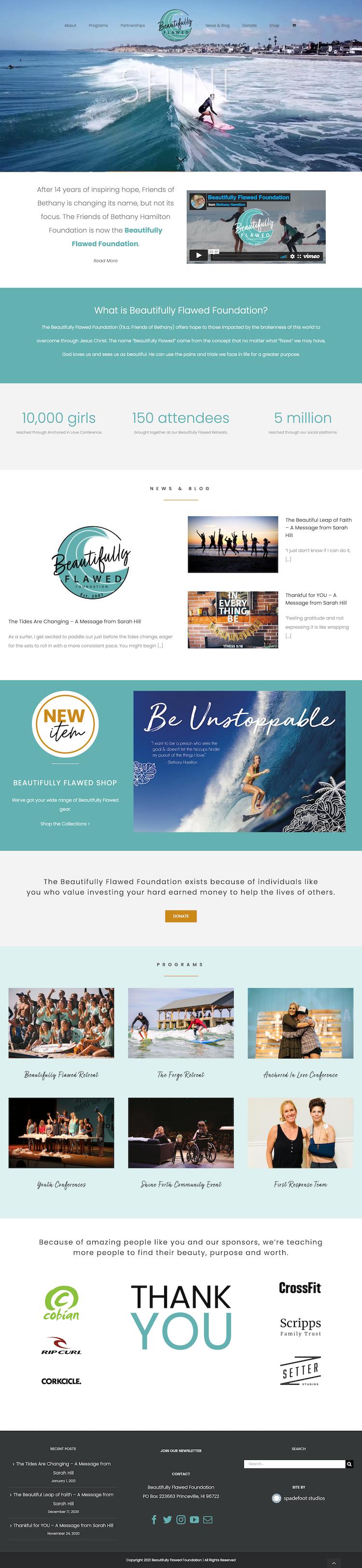 Beautifully Flawed Homepage Screenshot