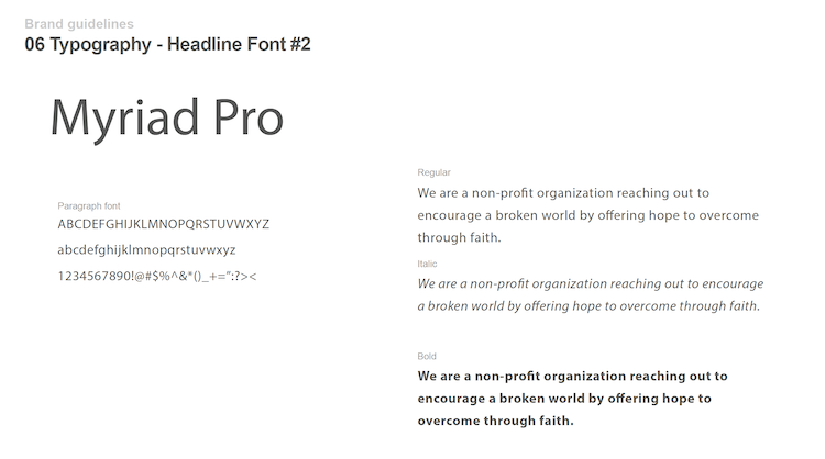 brand guide - typography page