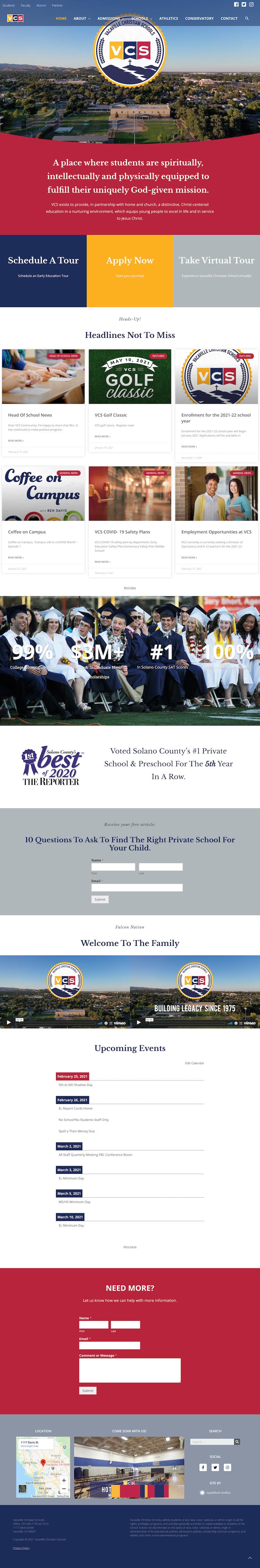 Screenshot of VCS Schools Homepage